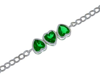 3 Ct Emerald Heart Bezel Bracelet .925 Sterling Silver