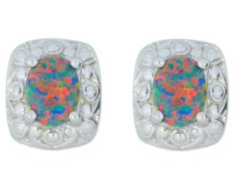Black Opal Oval Stud Earrings .925 Sterling Silver