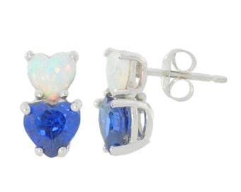 Opal & Blue Sapphire Double Heart Stud Earrings .925 Sterling Silver