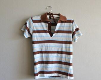 Vintage Size 14 Boys Striped Collared Polo Shirt