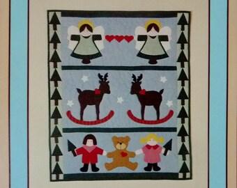 "Applique Christmas Banner Pattern, Prairie Farm Designs, Christmas Companions 30"" x 36"" UNCUT"