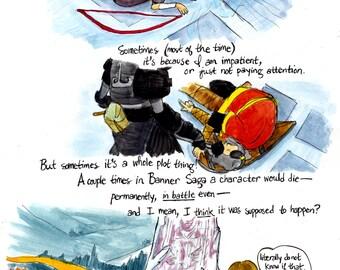 Banner Saga Deaths - 11x14 original comic