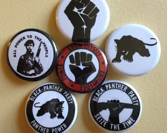 """Black Panther pin back buttons 1.25"""" set of 6"""