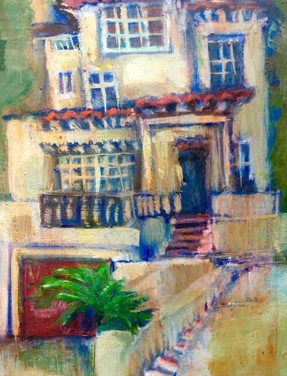 Expressionist Cityscape Painting in Oil - Spanish House in Berkeley - Midsize Wall Art