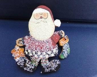 Vintage Glitter Santa Claus Brooch Pin, Rustic Country Santa Claus Brooch Pin, Christmas Brooch Pin, St Nick Brooch Pin, Free Shipping