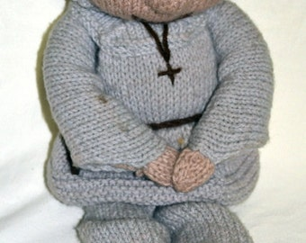 Handmade - Hand Knitted Monk Doll, Knitted Doll, Dolls, Girls Doll, Rag Doll