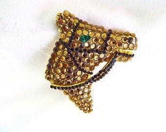 Rhinestone Horse Brooch, Vintage Equestrian Pin, Equestrian Jewelry