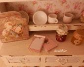 Shabby Chic Notebooks, Dollhouse Miniature,1:12  Scale Dolls House