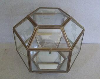 Vintage Large Glass and Brass Display Box - Mirrored and Etched Glass Display Box - 1960s Glass Jewelry Box - Glass and Brass Hexangonal Box