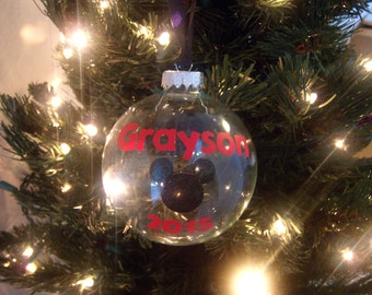 Mickey/Baby's 1st Personalized Glass Ornament
