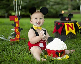 MICKEY MOUSE inspired cake smash outfit, boys clothing,  photo prop