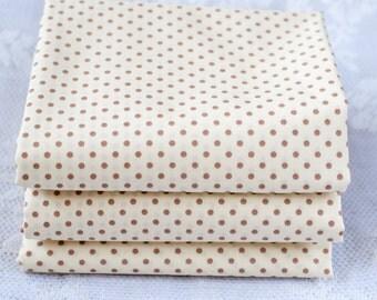 Beige Polka Dot Fat Quarter | 3mm Polka Dot Spot Fabric | Cotton Fabric