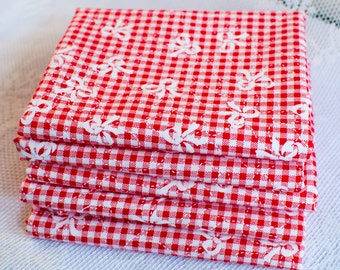 Gingham Fat Quarter | Red and White Cotton Fabric | Bow Cotton Fabric Fat Quarters