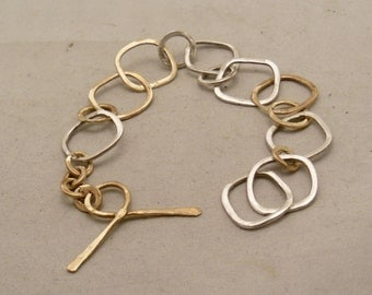 Silver and Brass chain link bracelet