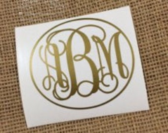Gold monogram decal large or Small personalized vinyl sticker for preppy style classy girls laptop ipad car notebook phone tablet