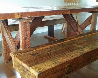 """The Starke Farm Table and Benches, an 8"""" Table and Benches from Reclaimed and Salvaged Lumber"""
