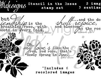 Stencil In The Roses Digital Stamp Set