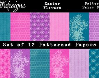 Easter Flowers Digital Paper Pack