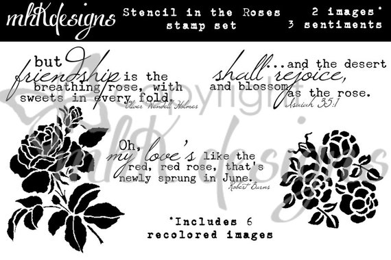 Stencil In The Roses Digital Stamp Set
