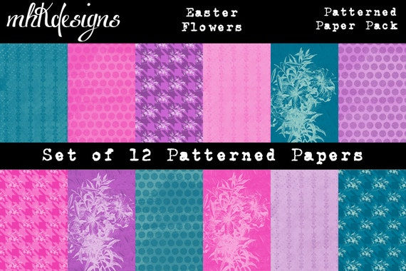 Easter Flowers Digital Paper Pack