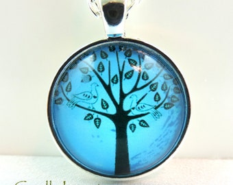 Tree-of-Life Silver Pendant With Chain Teal Blue Sky and Swarovski Birthstone Charms