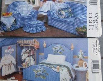 """Vogue Doll Collection Furniture Patterns 18"""" Dolls Lot of 2 Uncut New Condition"""