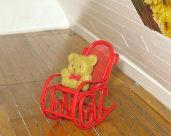 HOT SUMMER SALE 30% off Miniature dollhouse vintage flocked brown teddy bear on red metal rocking chair
