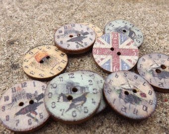 Wooden buttons  ,round  button, printed  buttons , clock buttons,