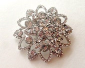 Silver Clear Rhinestone Flatback Embellishment or Pin Large Rhinestone Flower Broach Crystal Brooch Wedding Brooch Bouquet DIY  SC11