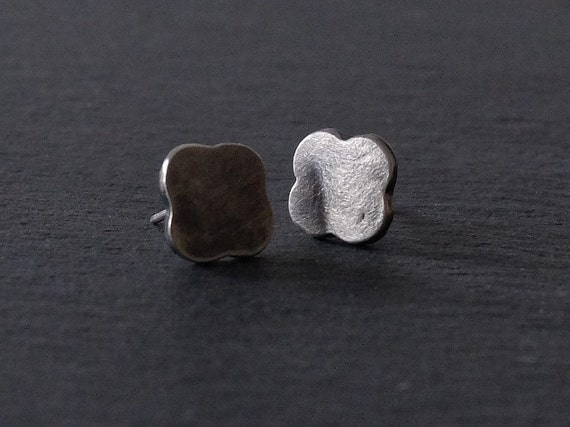 Quatrefoil Stud Earrings, Silver Stud Earrings, Flower Stud Earrings, Everyday Stud Earrings, Oxidised Silver Stud Earrings, Small Studs