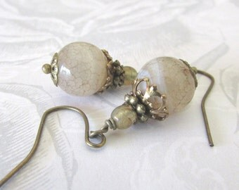 Rutilated Quartz Gemstone Earrings - Antique Bronze Filigree Enhancements - Handmade - Lead Nickel Free - FREE Shipping USA ONLY