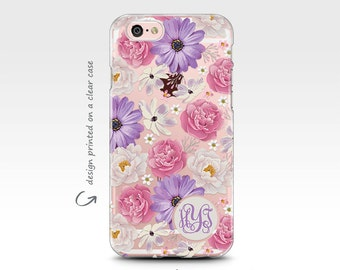 iPhone 7 Case, Rubber Case, iPhone 6 Case, iPhone 7 Plus Case, iPhone X Case, Monogram Case, Floral Art, Galaxy S7 Case, Galaxy S8 Case