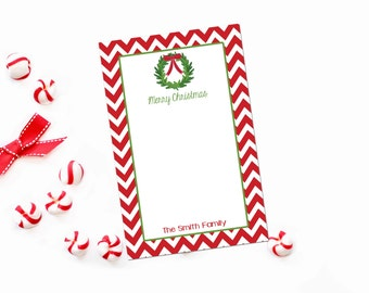 Personalized Christmas Notepad / Christmas Wreath Personalized Stationery Notepad / Red Chevron Stationary Notepad