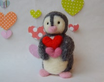 Needle Felted Valentine Penguin/ Handmade Miniature Penguin/ Miniature penguin with hearts/ Valentine's Day gift