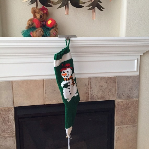 Hand Knitted Mr. Snowman Christmas Stocking
