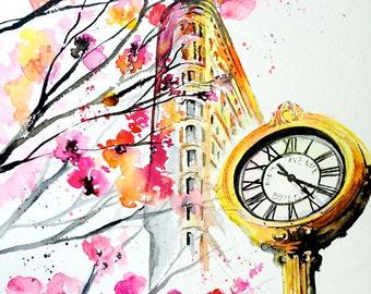 New York Love Watercolor - Original Travel Illustration by Lana Moes - Romantic Wanderlust - Flatiron in Madison Square Park in Springtime