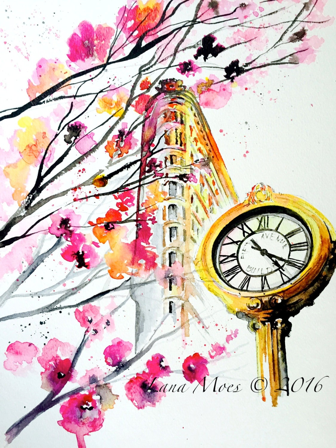 New york love watercolor original travel illustration by for Art sites like etsy
