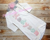 Baby Girl Coming Home Gown, Baby Girl Layette,  Personalized Girl Gown with Optional Hat or Headband
