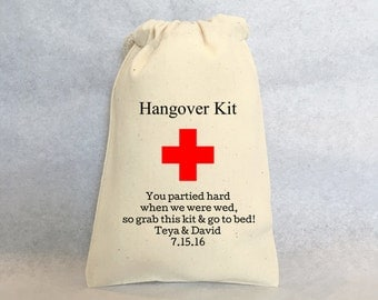 """Hangover Kit, set of 25, Personalized wedding favors- wedding favor bags, Cotton Drawstring Bags - wedding favors 4""""x6"""""""