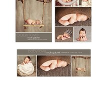 ON SALE Baby Boy Birth Announcement Template - Card and Facebook Cover Bundle - Noah - 1305