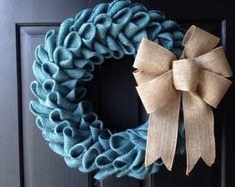 Light blue burlap petal wreath
