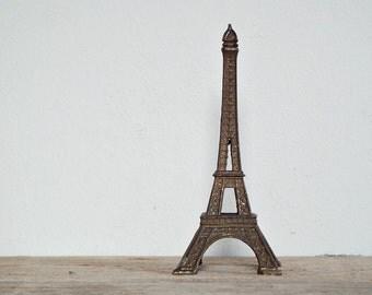 EIFFEL TOWER STATUE - miniature collectibles, mini memorabilia, world expo, metal tower statuette, romantic paris souvenir, icon of France
