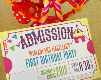 Carnival themed children's birthday party invite