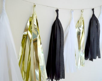 Black, White and Gold Tissue Tassel Garland - One Stylish Party