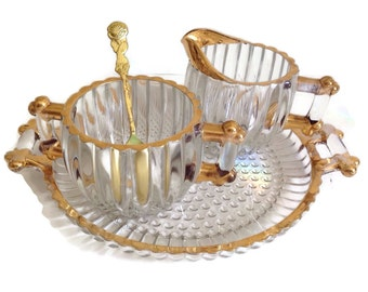 Vintage Jeannette Glass Sugar and Creamer Set National Gold Accents Matching Handled Tray Crystal Clear Ribbed Discontinued-Replacement