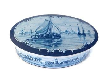 Vintage Tin Box West Germany Dutch Scene Delft Blue Oval Tin Box Storage Tin Candy Tin Sailing Ship Storage