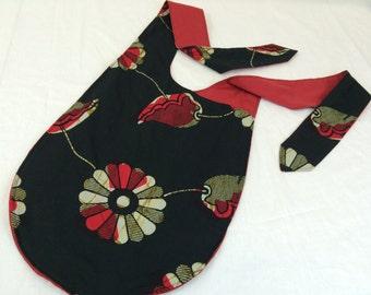 Cross Body Bag--African Wax Print Fabric Bag--Hip Sling Bag--Adjustable Strap Shoulder Bag--Book Bag--African Wax Print in Black/Red Floral
