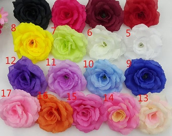 Silk Rose Heads Artificial Flower Heads 8cm/ 3 inch Whotesale Lot 100 Flowers For Wedding Arrangement Kissing Balls Centerpeices Flower Wall