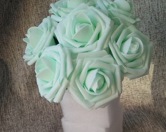 "Mint Green Roses Fake Flowers 3"" Artificial Wedding Floral 100 Stems For Cake Topper Bridal Bouquet Wedding Table Centerpiece Decor LNPE032"