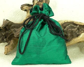 Shimmering Emerald Green Silk Dupion Drawstring Tarot Bag Gothic Pagan